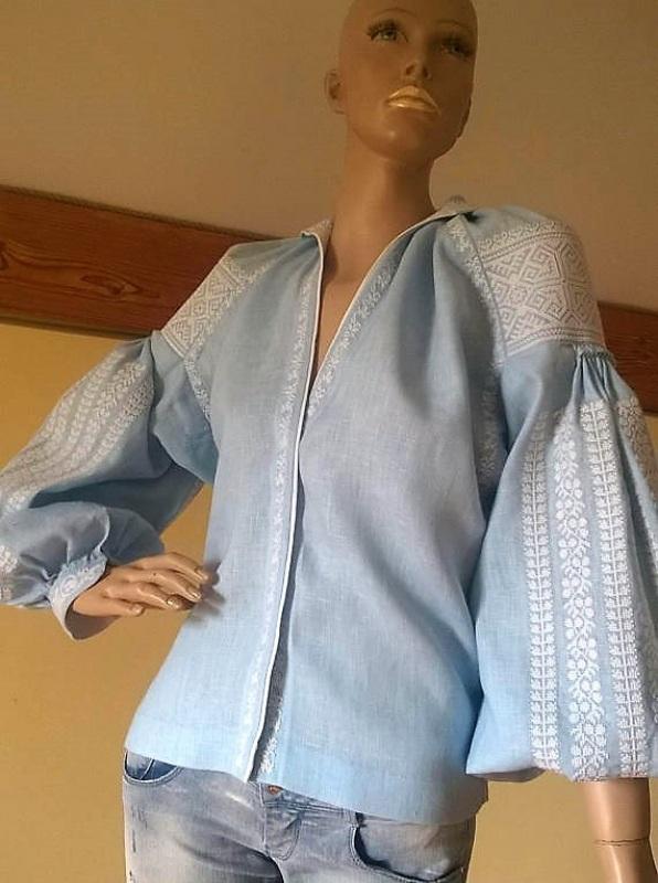 Женская вышиванка Голубой 100% высококачественный л Мацигин Наталья - фото 1