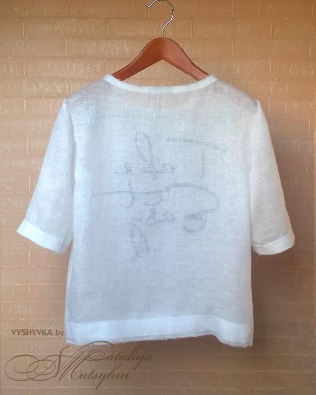 Льняная блуза с вышивкой Белый ЦВЕТ: Белый.  Состав: 1 Мацигин Наталья - фото 2