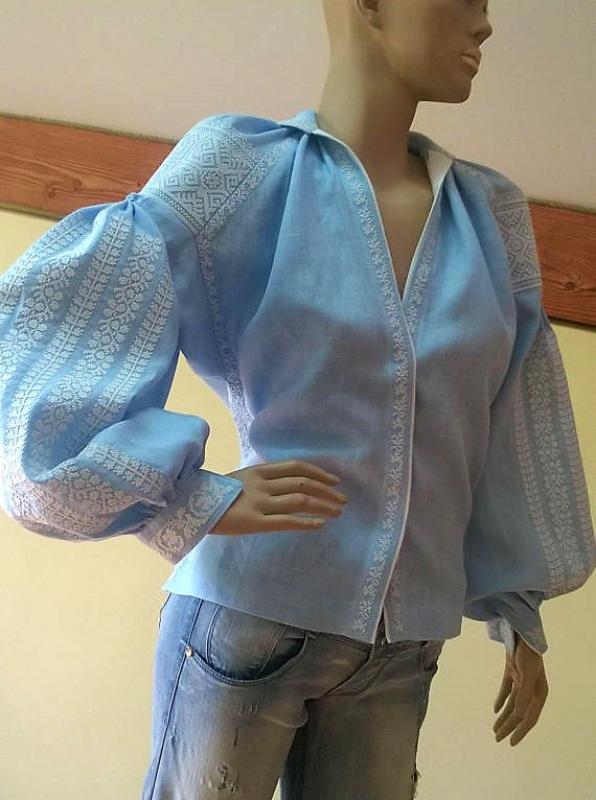 Женская вышиванка Голубой 100% высококачественный л Мацигин Наталья - фото 2