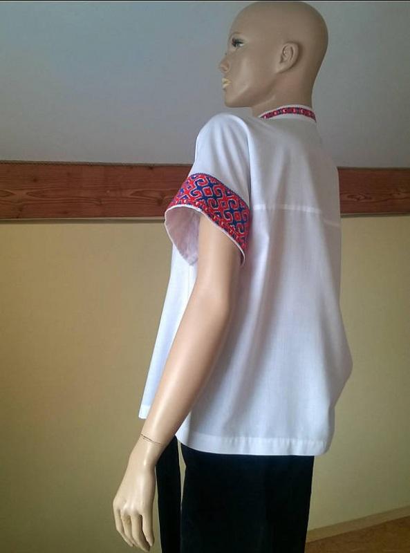 Женская белая рубашка с украино старинной вышивкой Белый Ткань - 100% хлопок, выши Мацигин Наталья - фото 2