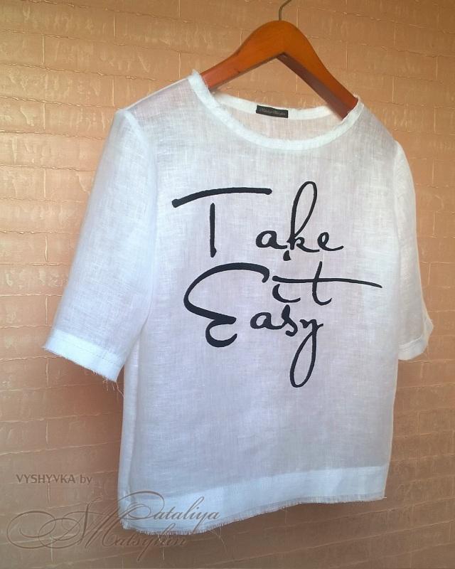 Льняная блуза с вышивкой Белый ЦВЕТ: Белый.  Состав: 1 Мацигин Наталья - фото 3