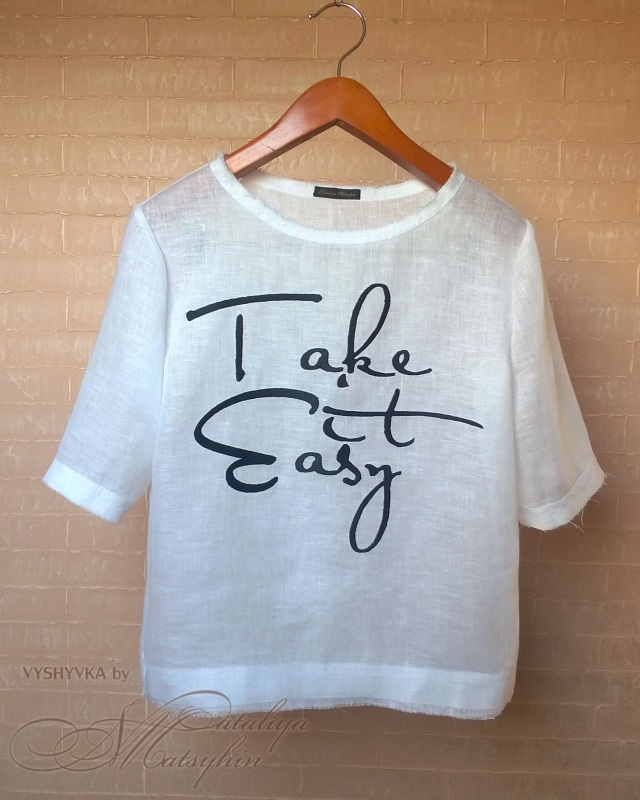 Льняная блуза с вышивкой Белый ЦВЕТ: Белый.  Состав: 1 Мацигин Наталья - фото 1