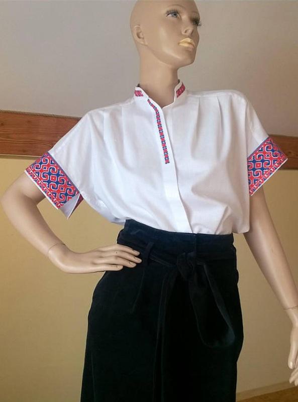 Женская белая рубашка с украино старинной вышивкой Белый Ткань - 100% хлопок, выши Мацигин Наталья - фото 5