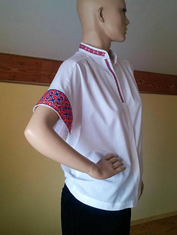 Женская белая рубашка с украино старинной вышивкой Белый Ткань - 100% хлопок, выши Мацигин Наталья - фото 3