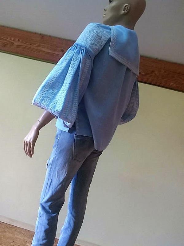 Женская вышиванка Голубой 100% высококачественный л Мацигин Наталья - фото 5