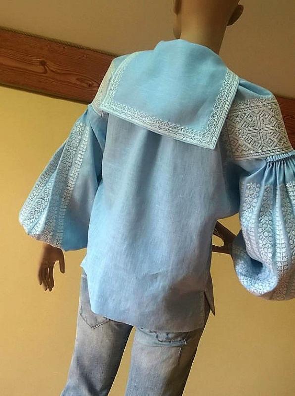 Женская вышиванка Голубой 100% высококачественный л Мацигин Наталья - фото 7