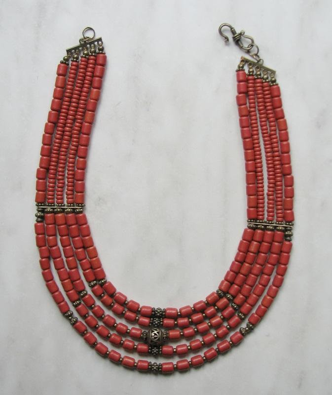 Ожерелье из керамики Красный Керамика ручной работы, б Матвиив Оксана - фото 3