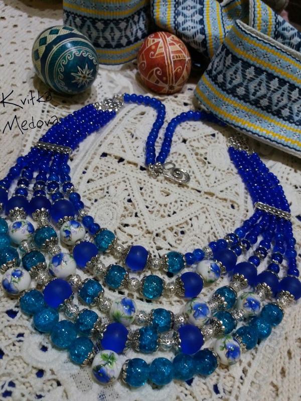 Водограй Синий Стеклянные бусины, декора Квітка Медова - фото 4