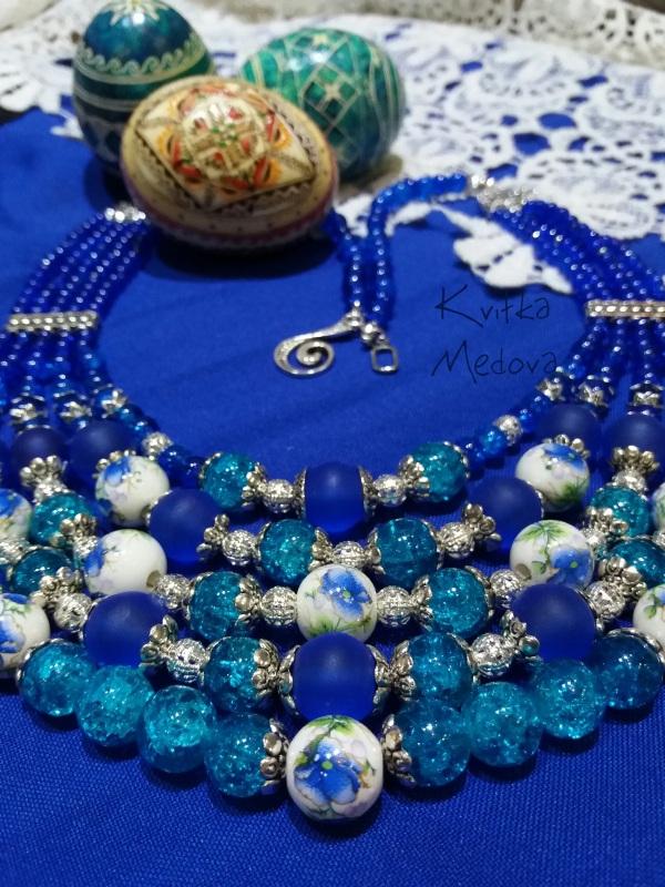Водограй Синий Стеклянные бусины, декора Квітка Медова - фото 1