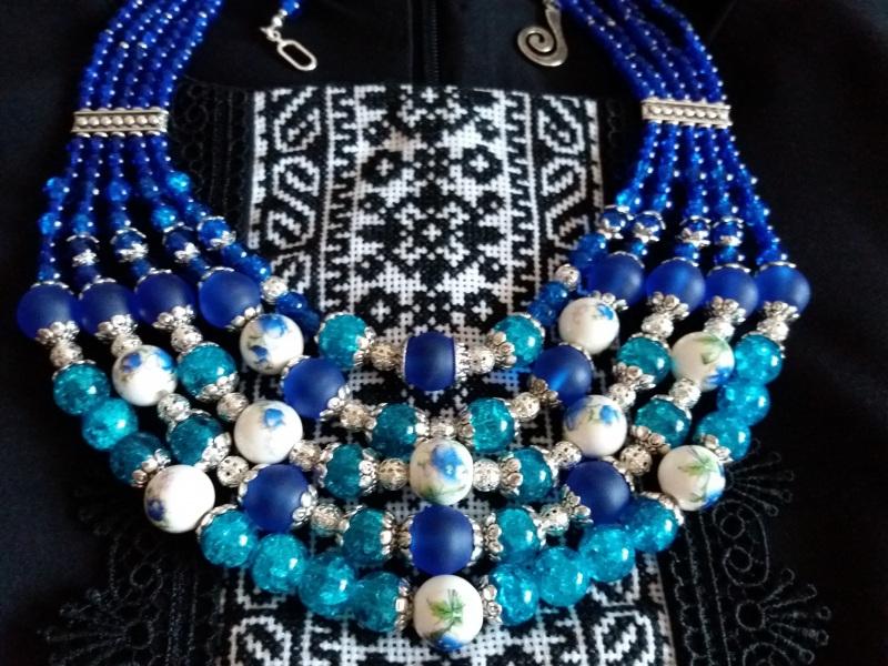 Водограй Синий Стеклянные бусины, декора Квітка Медова - фото 2
