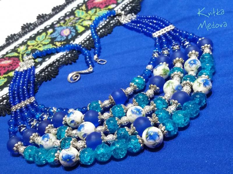 Водограй Синий Стеклянные бусины, декора Квітка Медова - фото 3
