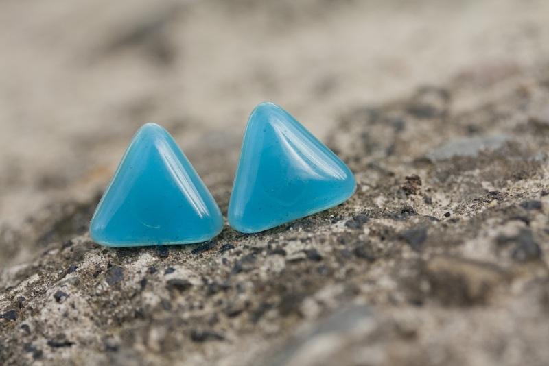 Серьги гвоздики 2 Голубой Стекло, фурнитура Меленчук Христина - фото 1