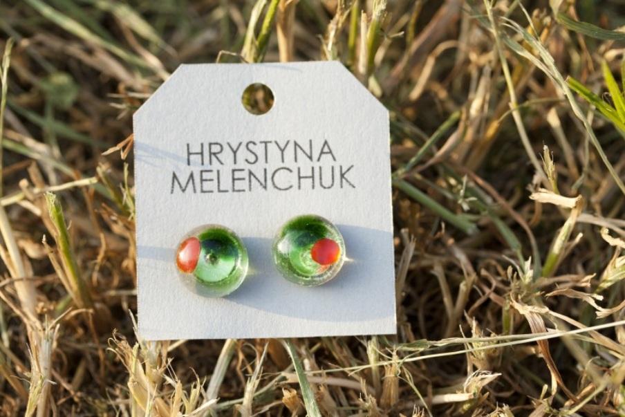 Серьги гвоздики 8 Зеленый Стекло, фурнитура Меленчук Христина - фото 1