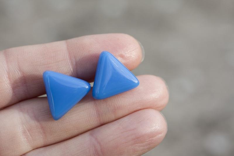 Серьги гвоздики Голубой Стекло, фурнитура Меленчук Христина - фото 1