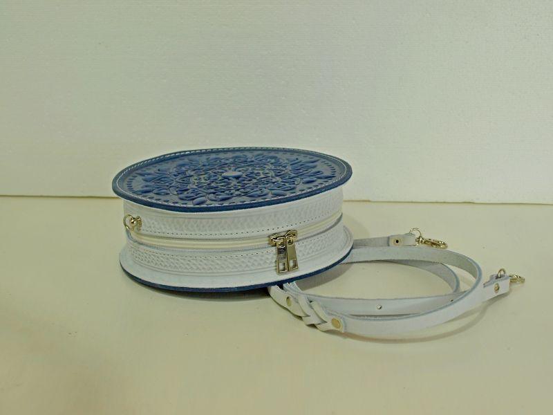 Круглая кожаная сумочка Орео Синий кожа Менчак Ирина - фото 2