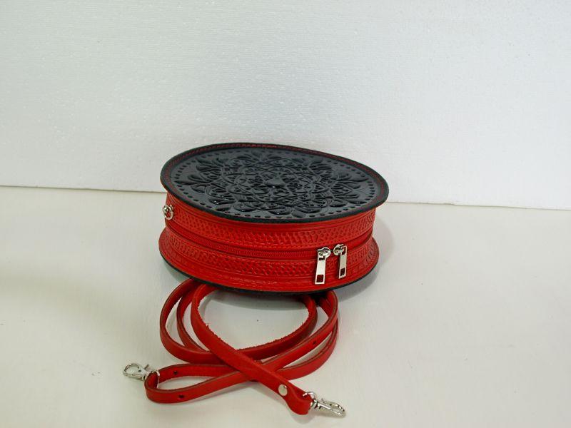 Круглая кожаная сумочка Орео Красный кожа Менчак Ирина - фото 3
