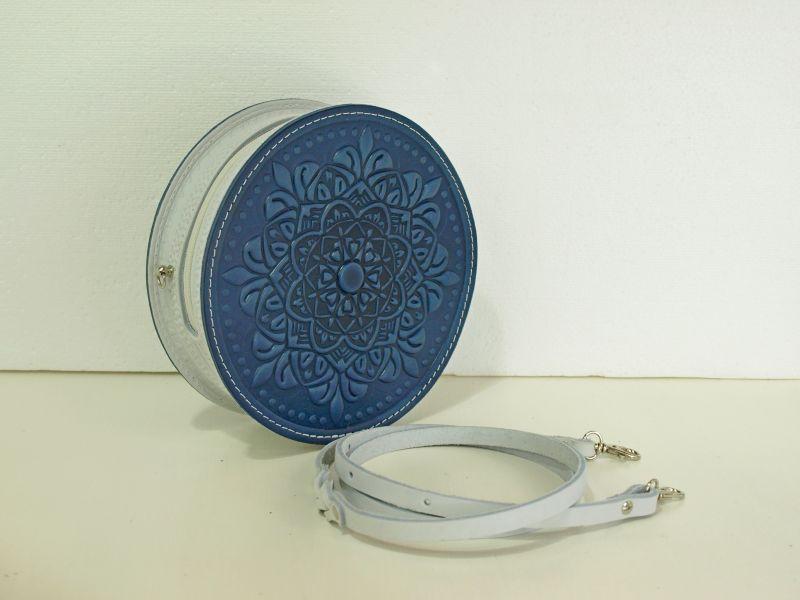 Круглая кожаная сумочка Орео Синий кожа Менчак Ирина - фото 1