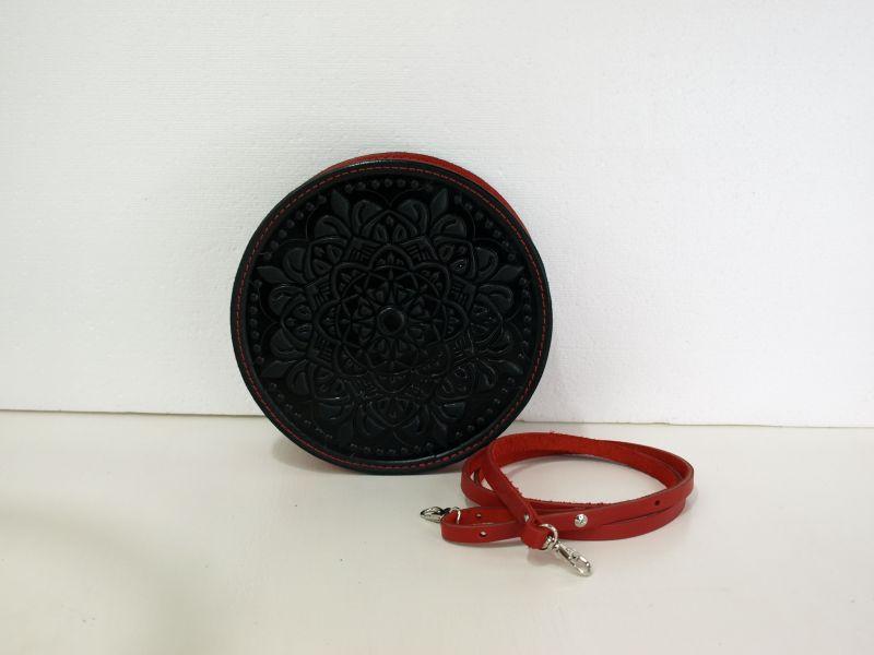 Круглая кожаная сумочка Орео Красный кожа Менчак Ирина - фото 2