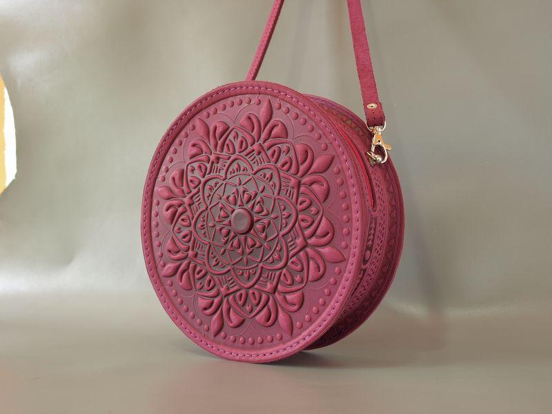 Круглая кожаная сумочка Орео Розовый кожа Менчак Ирина - фото 3