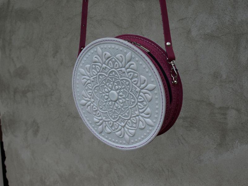 Круглая кожаная сумочка Орео Белый кожа Менчак Ирина - фото 5