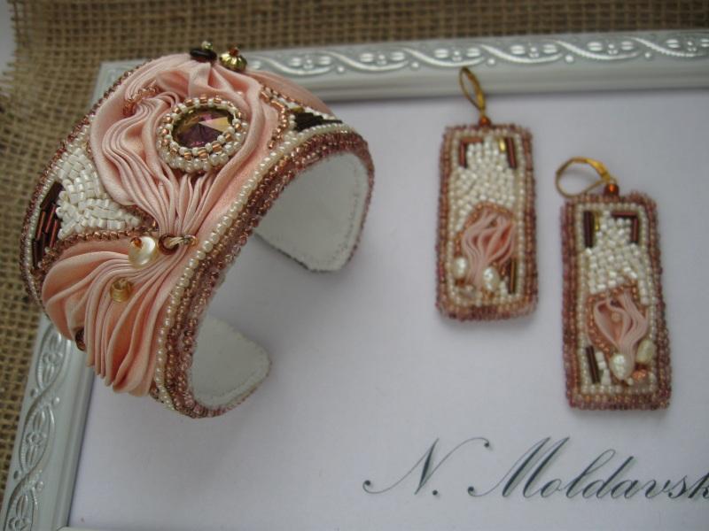 """Комплект """"Розовый фламинго"""" Разноцветный Японская шелковая лента ш Молдавская Наталья - фото 1"""