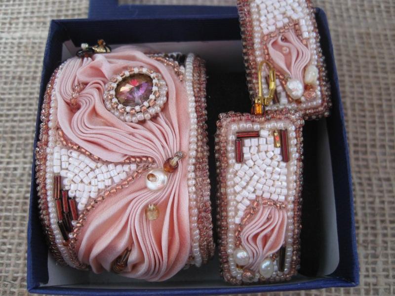 """Комплект """"Розовый фламинго"""" Разноцветный Японская шелковая лента ш Молдавская Наталья - фото 2"""