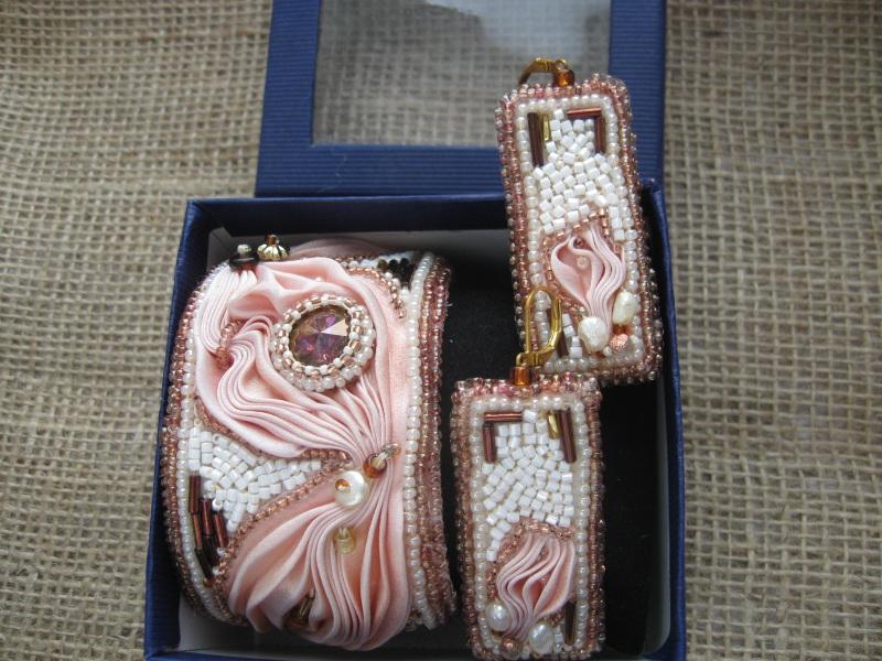 """Комплект """"Розовый фламинго"""" Разноцветный Японская шелковая лента ш Молдавская Наталья - фото 3"""