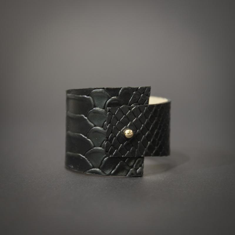 Браслет из натуральной кожи ассиметричный Черный Кожа, кожаная подкладка Морозова Анастасия - фото 1