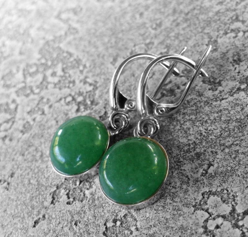 Серебряные серьги с зелёным авантюрином  серебро 925, серебряная ф Морозова Светлана - фото 2