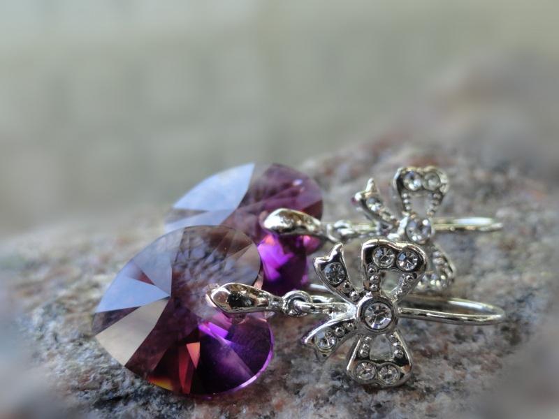 Серьги ROMANTIQUE - кристаллы Сваровски Фиолетовый Кристаллы Сваровски, посе Морозова Светлана - фото 1