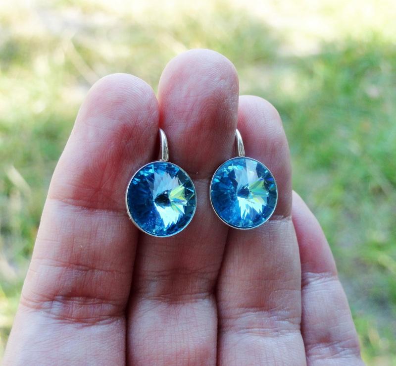 Серьги BLUE - серебро, Сваровски Синий серебро 925, серебряная ф Морозова Светлана - фото 1