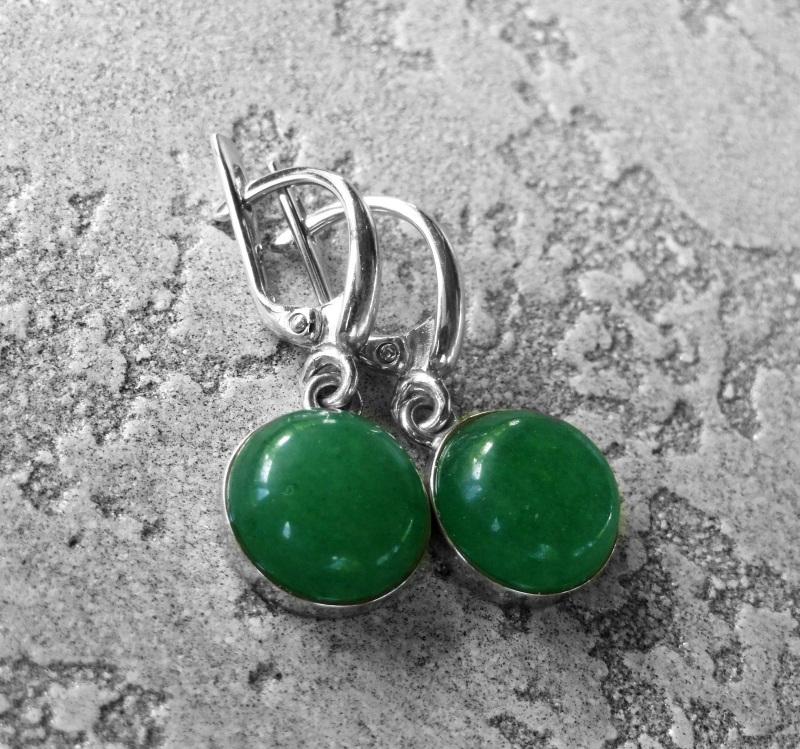 Серебряные серьги с зелёным авантюрином  серебро 925, серебряная ф Морозова Светлана - фото 3