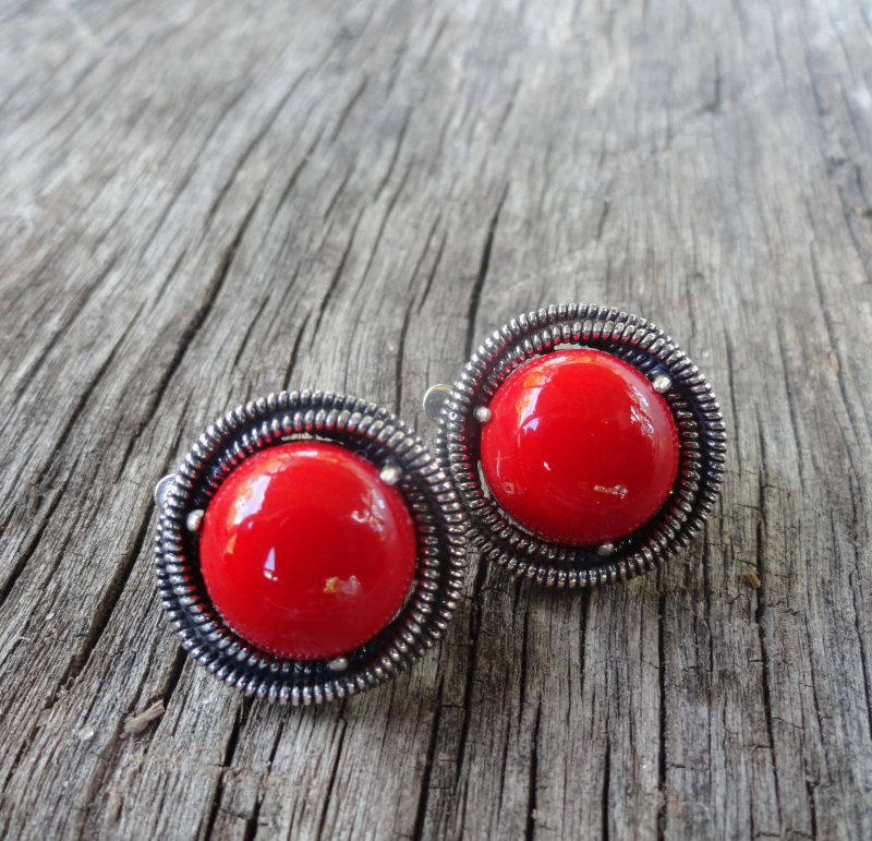 Серебряные серьги с кораллом ′Gloria′ Красный серебро 925 с чернением, Морозова Светлана - фото 1