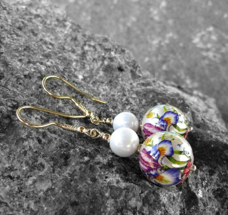Серьги с Теншо и Майорка в позолоченном серебре Разноцветный японские бусины Тенша, же Морозова Светлана - фото 2