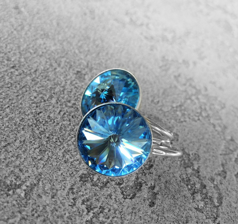 Серьги BLUE - серебро, Сваровски Синий серебро 925, серебряная ф Морозова Светлана - фото 2