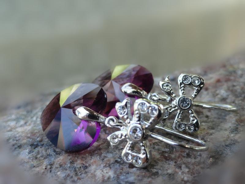Серьги ROMANTIQUE - кристаллы Сваровски Фиолетовый Кристаллы Сваровски, посе Морозова Светлана - фото 2