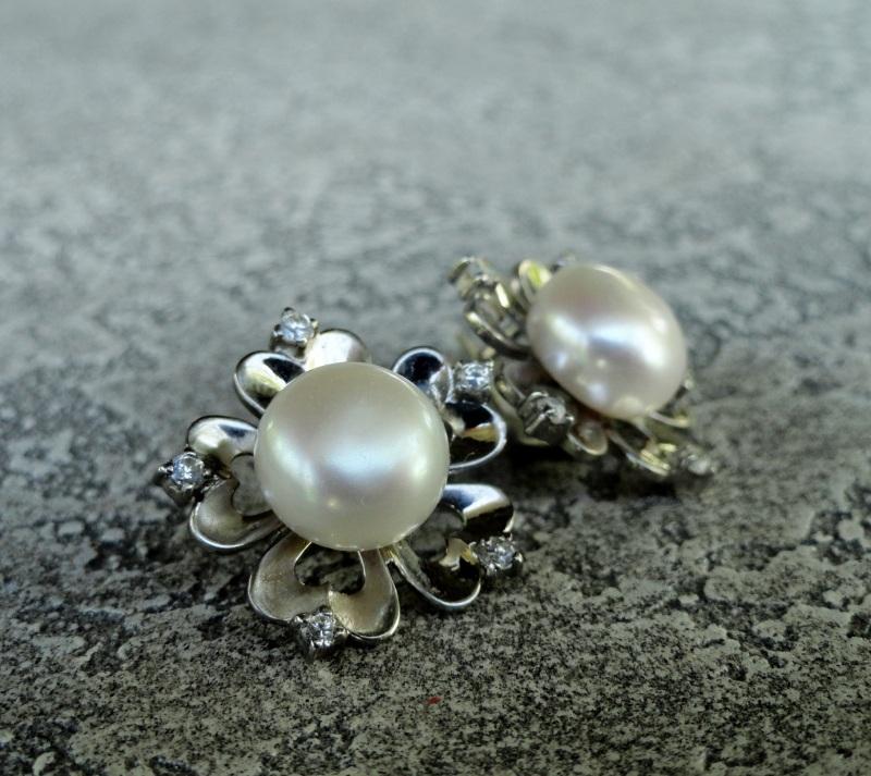 "Серьги ""Pearl Flower"" - серебро, нат. жемчуг Белый серебро 925, родиевое пок Морозова Светлана - фото 1"