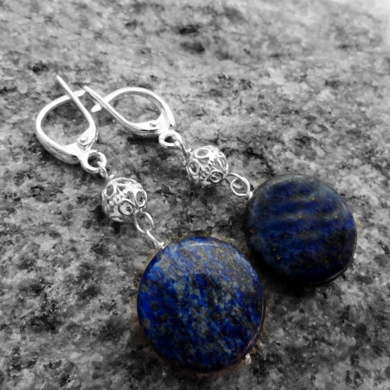 Длинные серебряные серьги с лазуритом Синий лазурит, серебро 925 Морозова Светлана - фото 1
