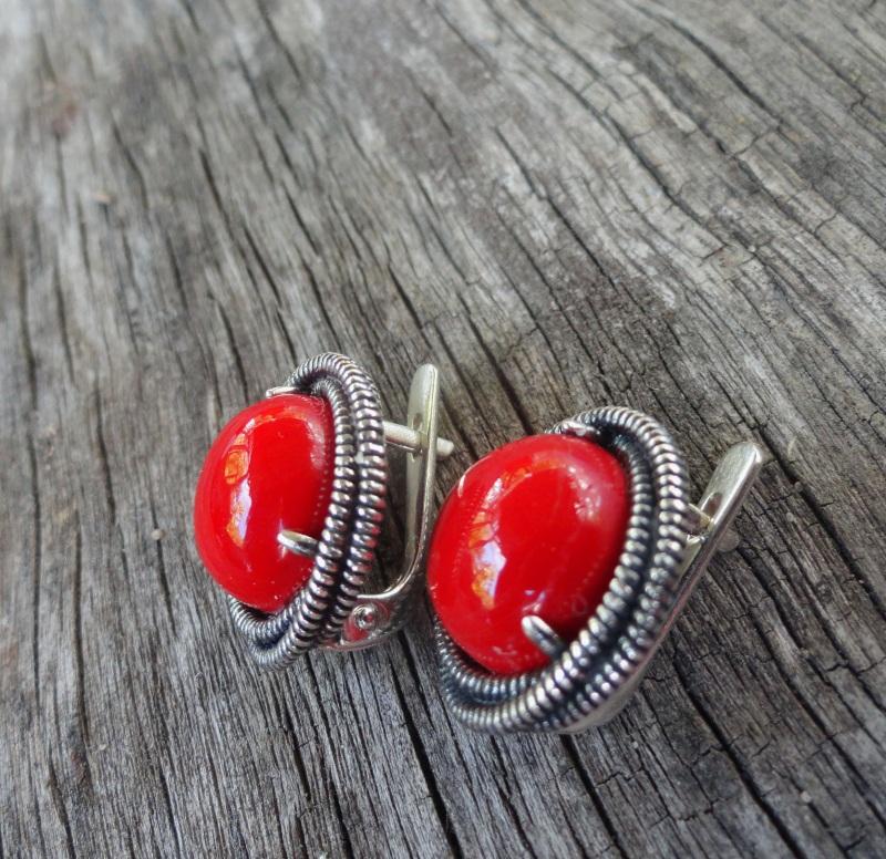 Серебряные серьги с кораллом ′Gloria′ Красный серебро 925 с чернением, Морозова Светлана - фото 3