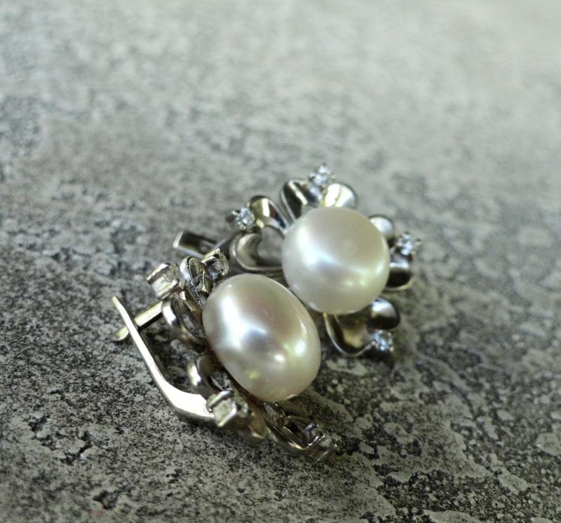 "Серьги ""Pearl Flower"" - серебро, нат. жемчуг Белый серебро 925, родиевое пок Морозова Светлана - фото 2"