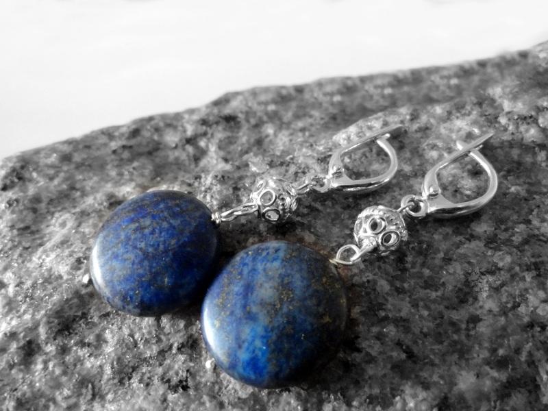 Длинные серебряные серьги с лазуритом Синий лазурит, серебро 925 Морозова Светлана - фото 2