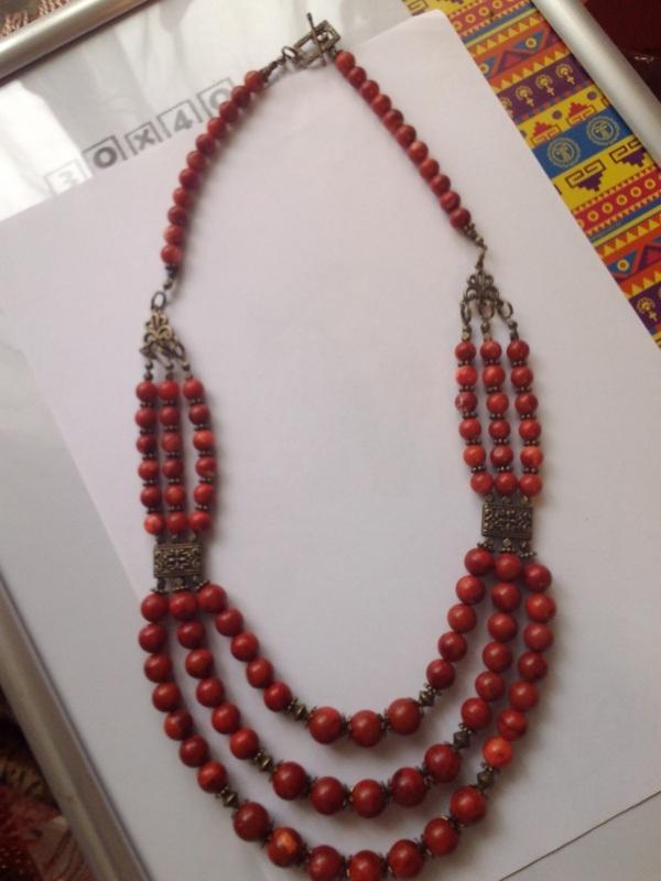 Ожерелье из губчатого коралла Красный Коралл губчатый, шарик 11 Михальская Галина - фото 2