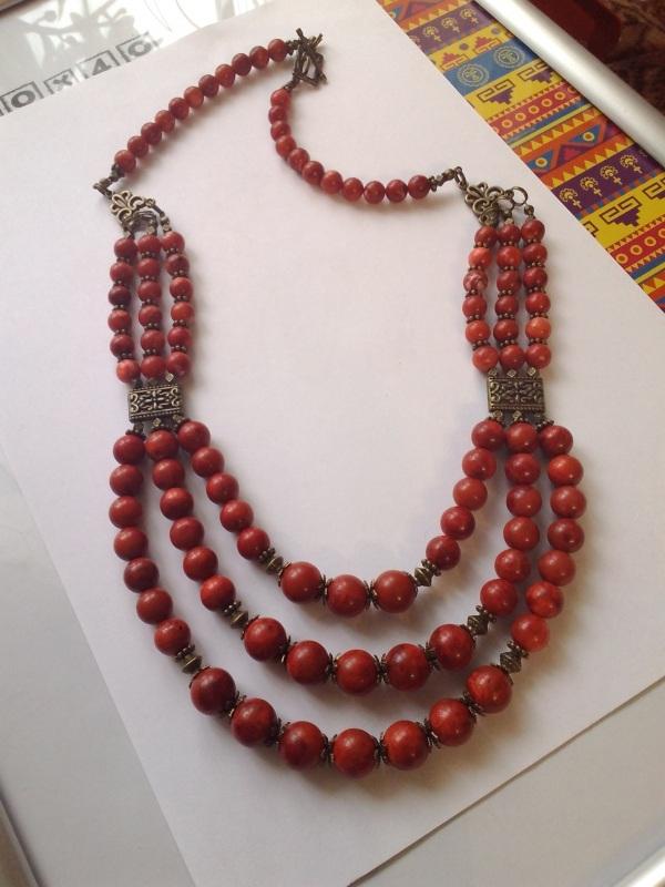 Ожерелье из губчатого коралла Красный Коралл губчатый, шарик 11 Михальская Галина - фото 3