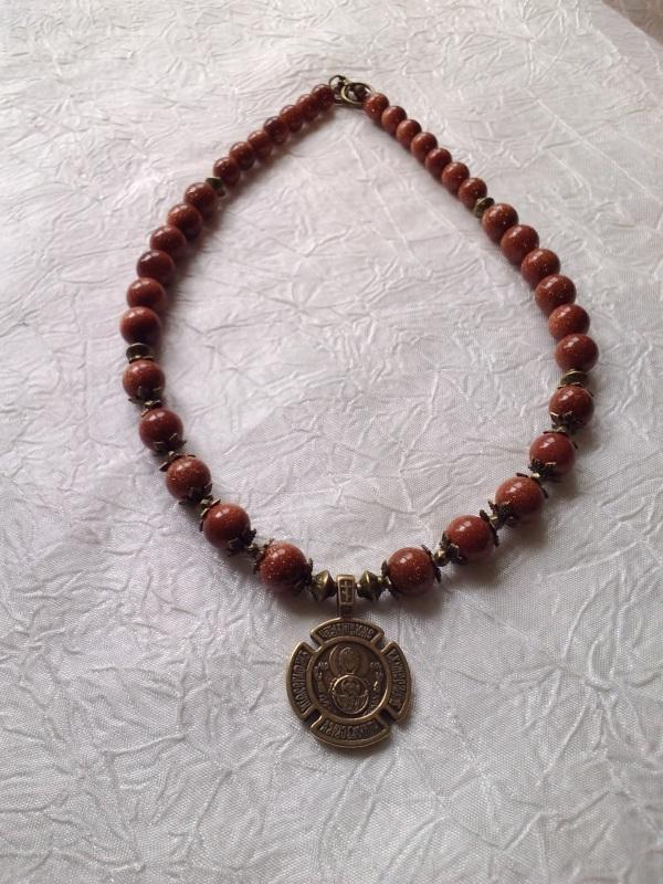 Ожерелье с медальоном Красный Авантюрин, медальон двуст Михальская Галина - фото 3