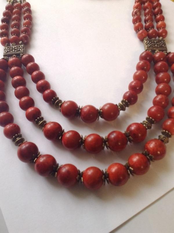 Ожерелье из губчатого коралла Красный Коралл губчатый, шарик 11 Михальская Галина - фото 1