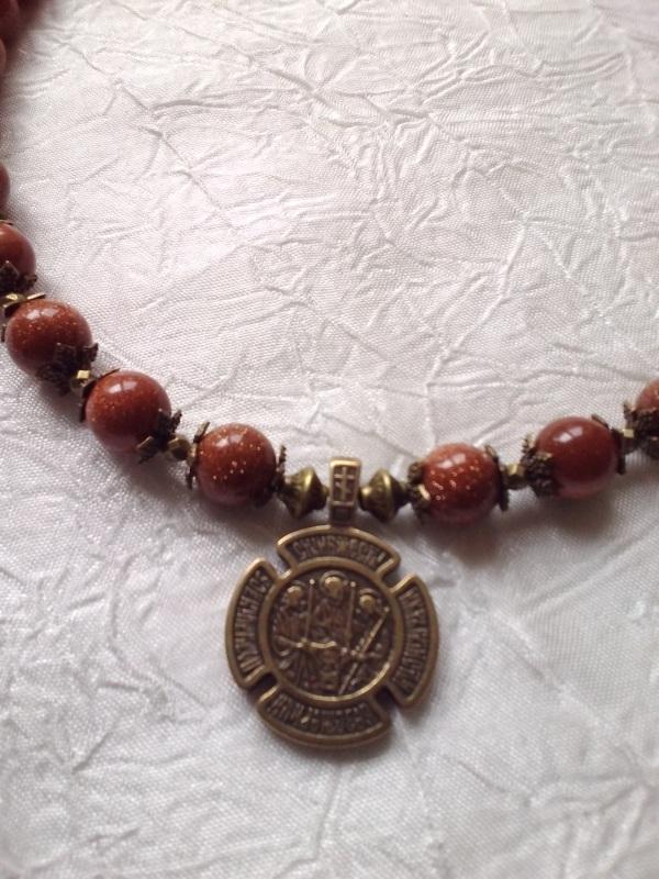 Ожерелье с медальоном Красный Авантюрин, медальон двуст Михальская Галина - фото 1