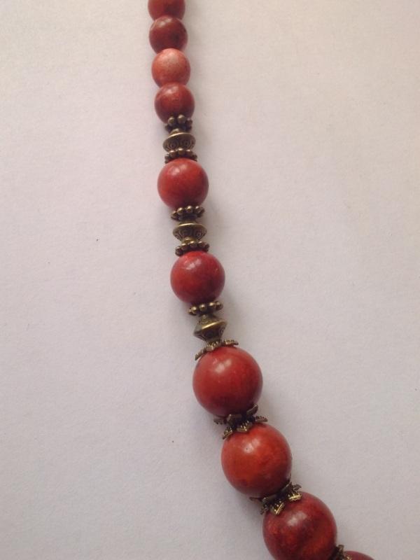 Ожерелье из губчатого коралла и крестом Спас Красный Коралл губчатый, шарик 11 Михальская Галина - фото 4