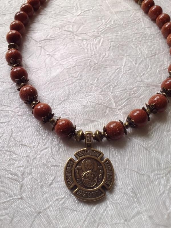 Ожерелье с медальоном Красный Авантюрин, медальон двуст Михальская Галина - фото 2