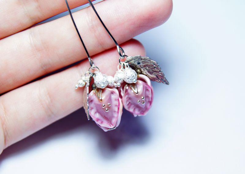 """Комплект """"Красивий настрій"""" Рожевий - італійське скло - сріб Мусієнко Ангеліна - фото 3"""