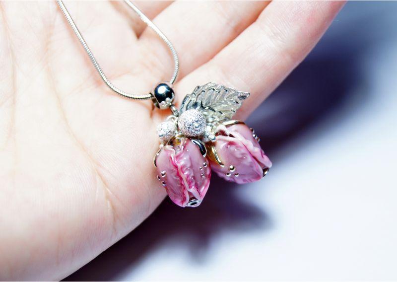 """Комплект """"Красивий настрій"""" Рожевий - італійське скло - сріб Мусієнко Ангеліна - фото 5"""